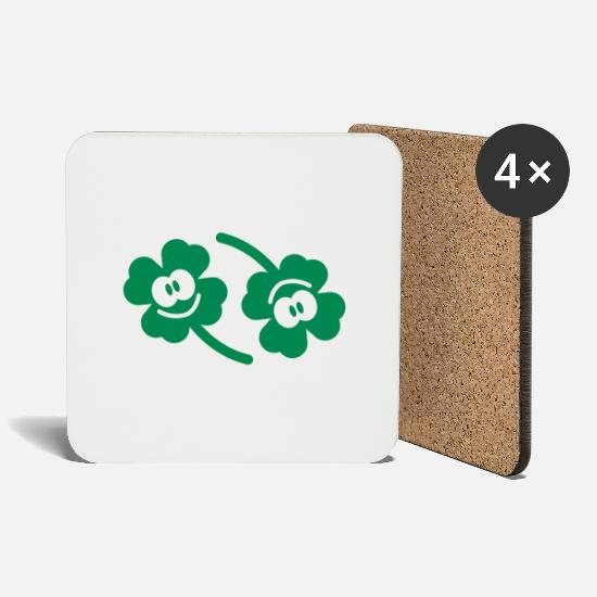 Nature Mugs & Drinkware - Double happy clover - Coasters white