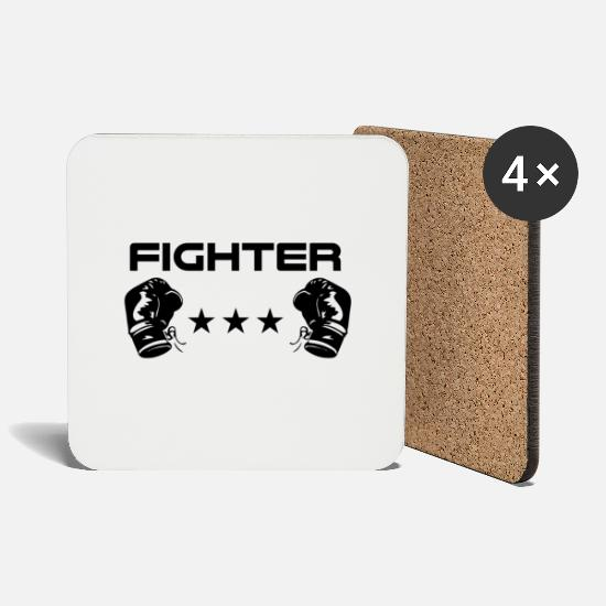 Mma Mugs & Drinkware - Fighter boxer fighter - Coasters white