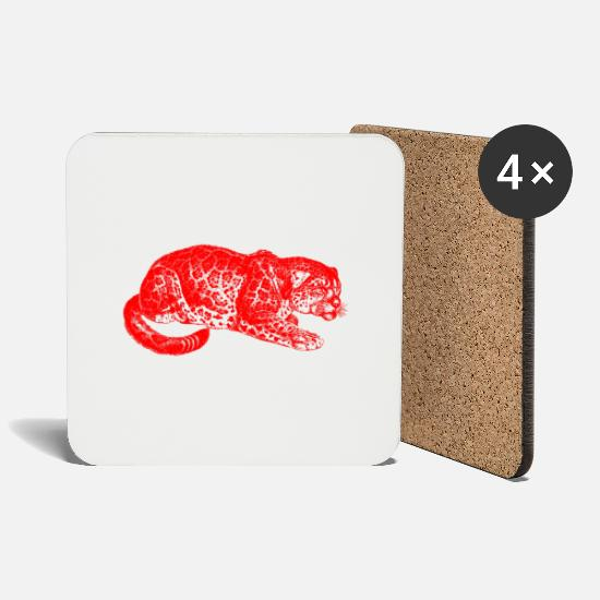 Wild Cat Mugs & Drinkware - Leopard red, leopard, cat, wild cat, - Coasters white