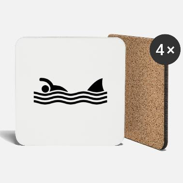 Fun Comedy Sign swimmer with shark - Coasters