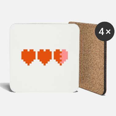 Three pixelated hearts representing energy - Coasters