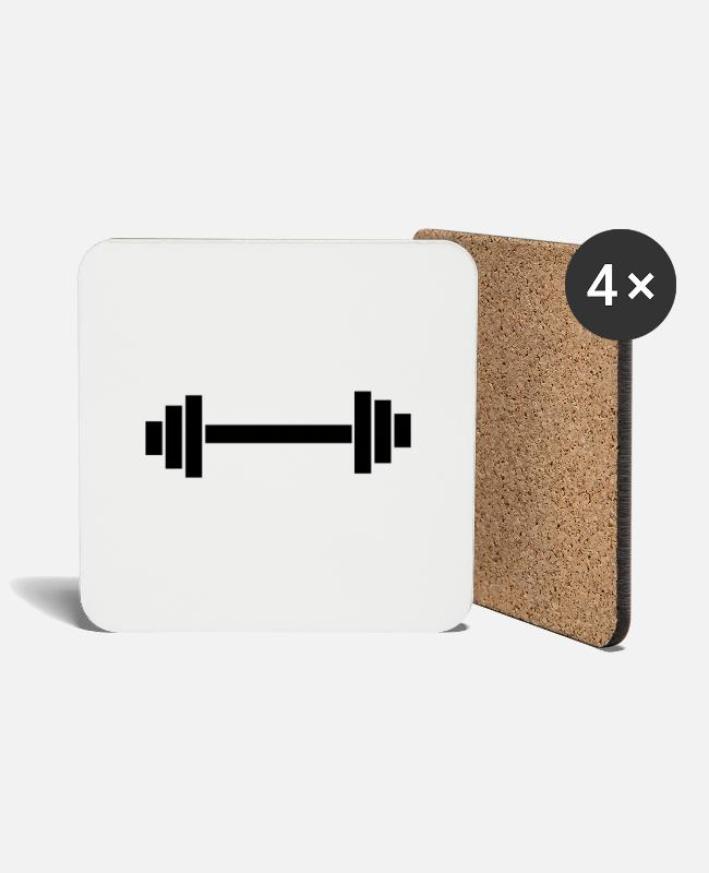 Weights Mugs & Drinkware - dumbbell - Coasters white