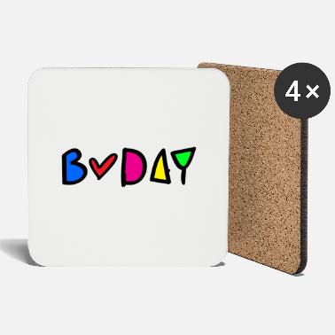 B Day b-day colorful typo - Coasters