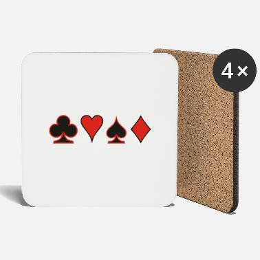 Pokerface Poker Cards Karten Pik Heart Herz Karo - Coasters