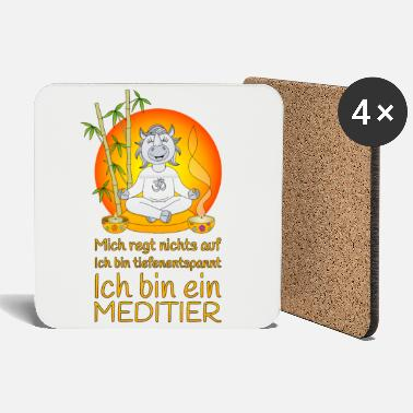 Meditating rhinoceros deeply relaxing in orange - Coasters