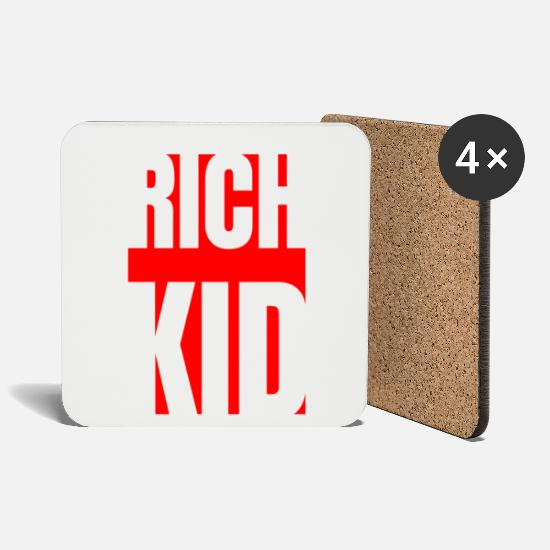 Luxury Mugs & Drinkware - Rich kid hip hop kingdom luxury money hustle gift - Coasters white