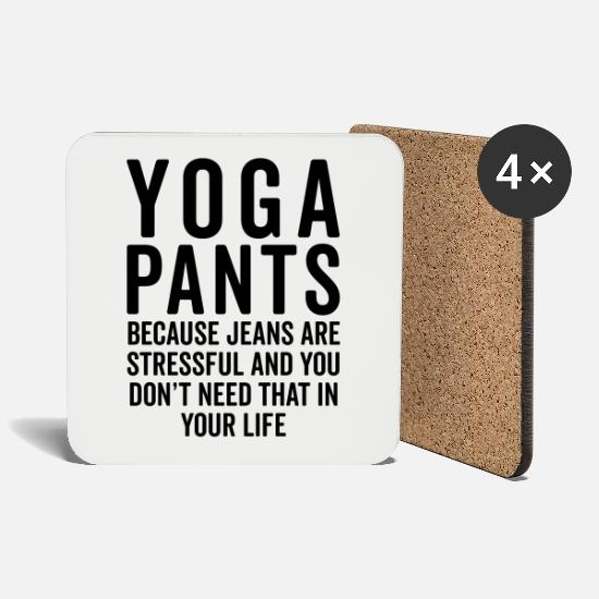 Quotes Mugs & Drinkware - Yoga Pants Stressful Funny Quote - Coasters white