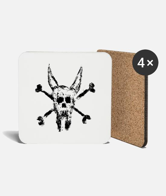 Lucifer Mugs & Drinkware - Devil worshiper for Halloween with skull and horn - Coasters white