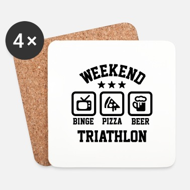 Relax Weekend triathlon pizza beer binge watching - Dessous de verre (lot de 4)