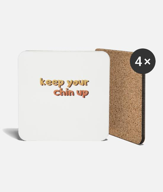 Heart Mugs & Drinkware - Hold your chin up - Coasters white