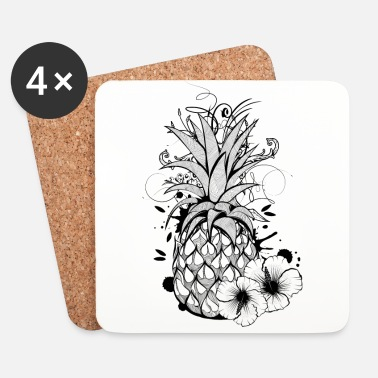 Graffiti Pineapple with hibiscus blossom - Lasinalustat (4 kpl:n setti)
