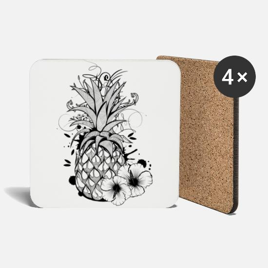 Artsy Mugs & Drinkware - Pineapple with hibiscus blossom - Coasters white