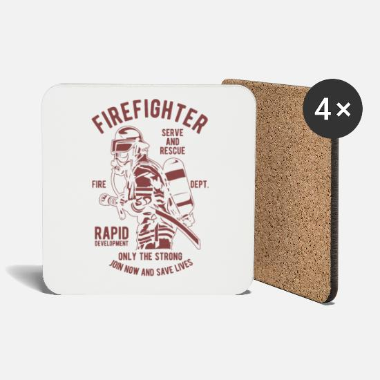 Fire Fighter Mugs & Drinkware - fire Department - Coasters white