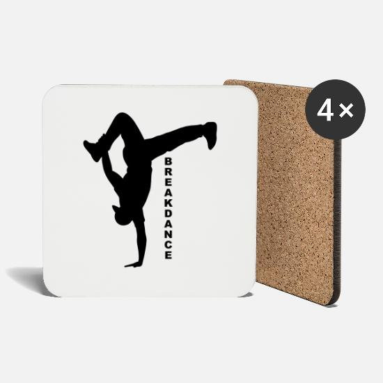 Gift Idea Mugs & Drinkware - Breakdance silhouette bboy gift - Coasters white