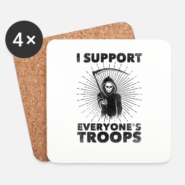 Anonymous I Support Everyone's Troops (Political /Statement) - Onderzetters (4 stuks)