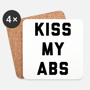 Kiss Kiss My Abs Funny Gym Quote - Glasbrikker (sæt med 4 stk.)
