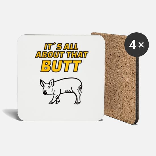 Hog Mugs & Drinkware - PIG: It's All About That Butt - Coasters white