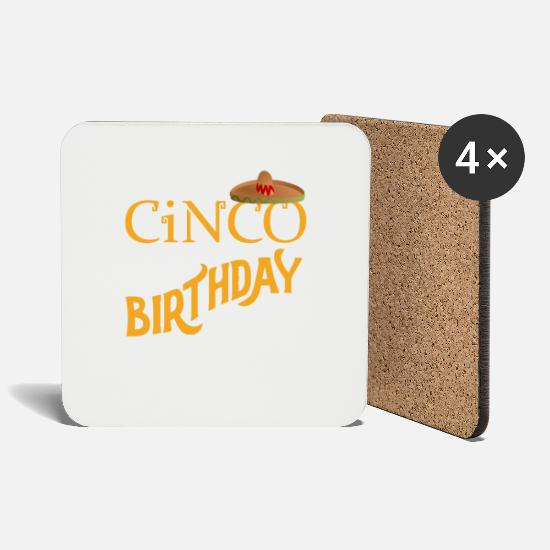 Birthday Mugs & Drinkware - Sombrero Mexico Birthday Cake Party Gift - Coasters white