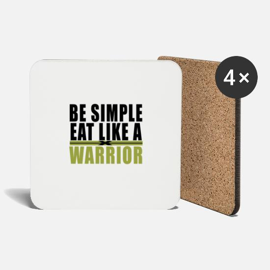 Gold Mugs & Drinkware - Be simple eat like a warrior - Like a warrior - Coasters white