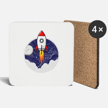 Moon Space Shuttle Small rocket for kids grunge - Coasters