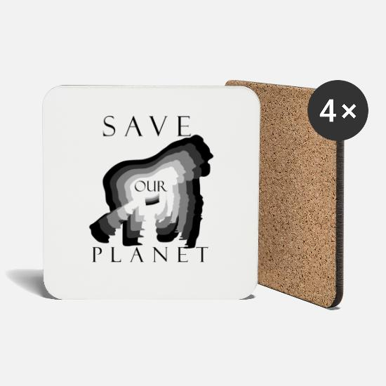 Gift Mokken & toebehoor - Save Our Planet, Climate Protection Gorilla Shirt - Onderzetters wit