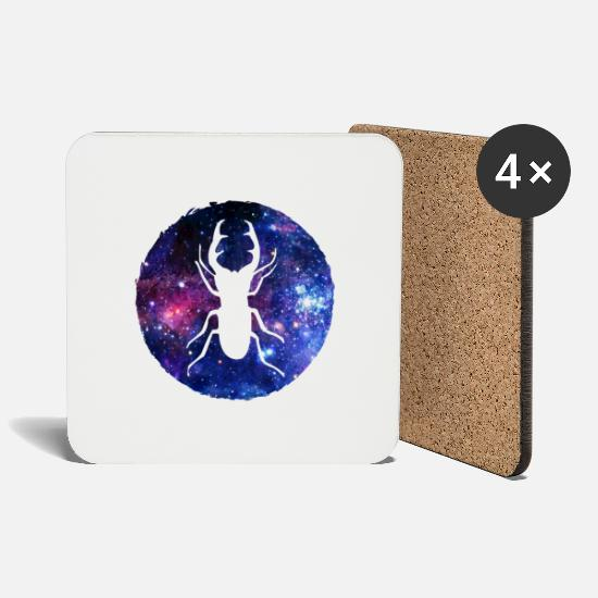Forest Mugs & Drinkware - Star sign stag beetle - Coasters white