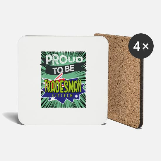Birthday Mugs & Drinkware - Proud craftsman to be a citizen - Coasters white