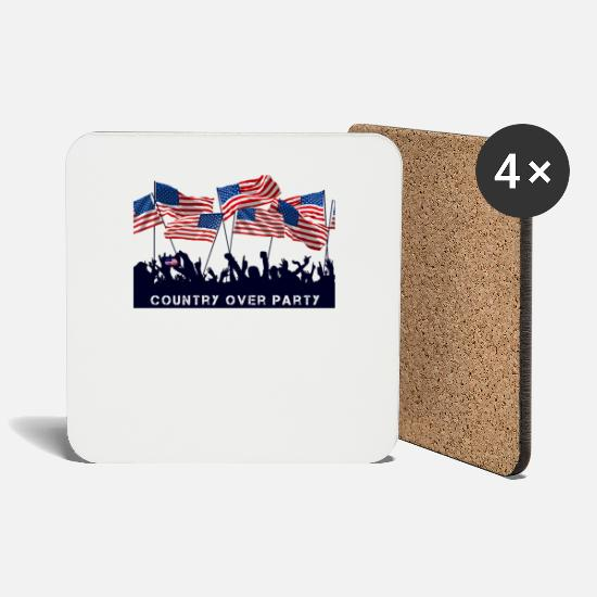 Country Mugs & Drinkware - country over usa party - Coasters white
