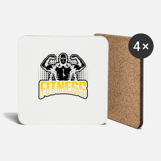 Body Builder Mugs & Drinkware - Fitness Muscle Man Show Competition Bicep Sports - Coasters white