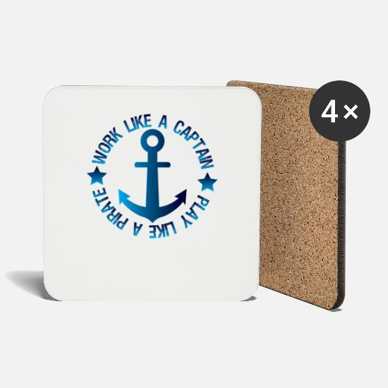 Birthday Mugs & Drinkware - Anchor - Captain - Coasters white
