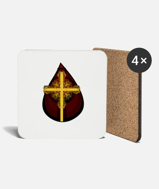 Cross Christianity Mugs & Drinkware - Drop of Blood Christ's Blood Jesus Cross Religion - Coasters white