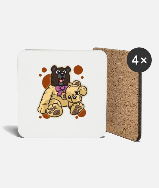 Brown Mugs & Drinkware - Brown bear in teddy bear costume bear costume humor - Coasters white