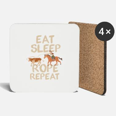 Eat Sleep Rope Repeat Cowboy Ranch Indians - Coasters