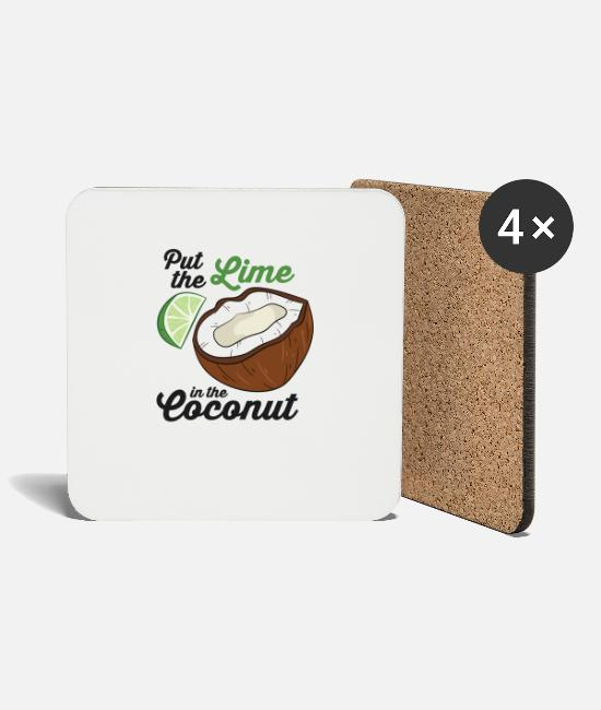 Palm Trees Mugs & Drinkware - Put The Lime In The Coconut Vacation Beach Lime - Coasters white