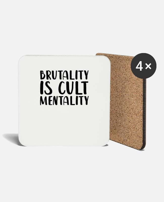 Distressed Mugs & Drinkware - Brutality Is Cult Mentality - Coasters white