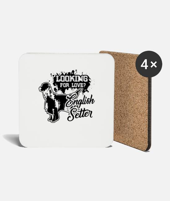English Setter Mugs & Drinkware - English Setter Dog Shirt Looking For Love - Coasters white