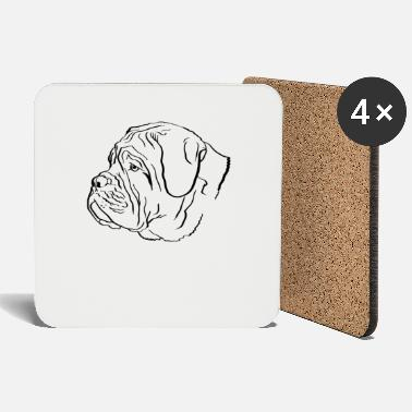 Dog De Bordeaux Dogue de Bordeaux Line Art - Coasters