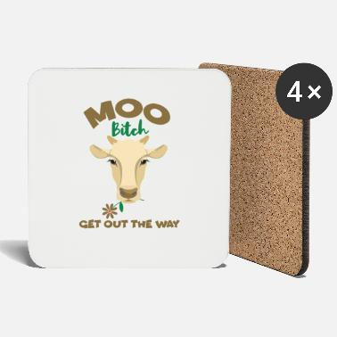 Milk Muh Cow Get Out The Way Funny Cow With Flower Cows - Coasters