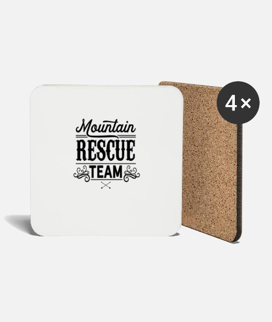 Mountains Mugs & Drinkware - Rescue service Mountain rescue Mountains Mountain rescue team - Coasters white