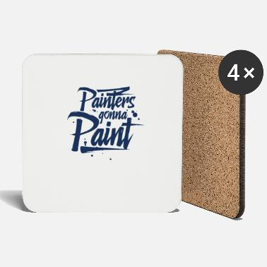 Paint Brush Painting Painter Painting Plant Painter Team - Coasters