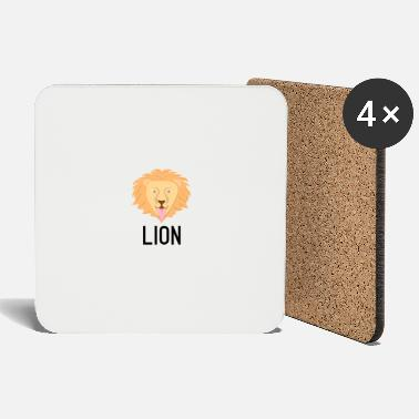 Crittercontest Lion black lettering sign crittercontest - Coasters