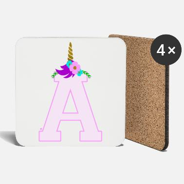 Initial Initial letter A Initials Name Unicorn Funny - Coasters