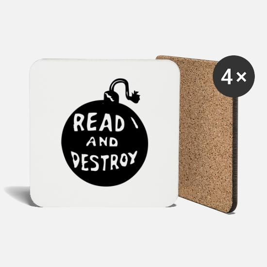 Gift Idea Mugs & Drinkware - Read and Destroy - Coasters white