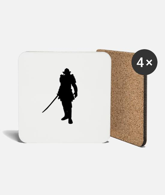 Shade Mugs & Drinkware - Samurai Shadow - Coasters white