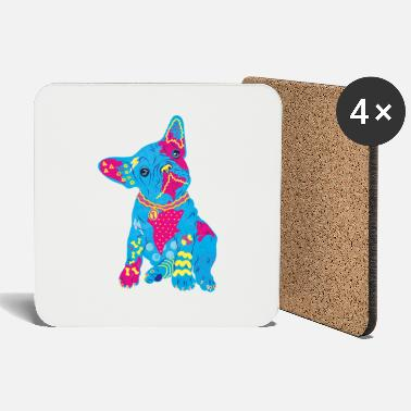 French bulldog colorful neon - Coasters