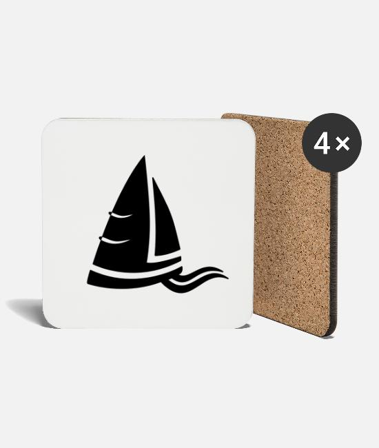 Water Mugs & Drinkware - SeeAir sailboat logo black - Coasters white