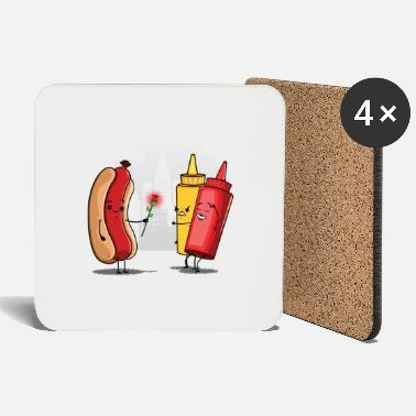 Funny Collection V2 Hot Dog Love Ketchup - Coasters