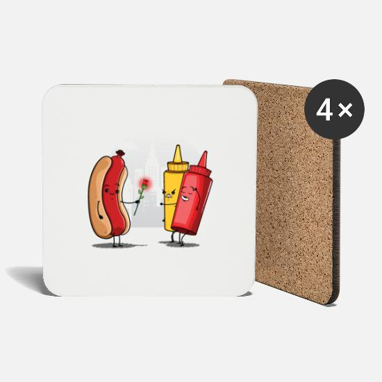 Funny Collection Mugs & Drinkware - Hot Dog Love Ketchup - Coasters white
