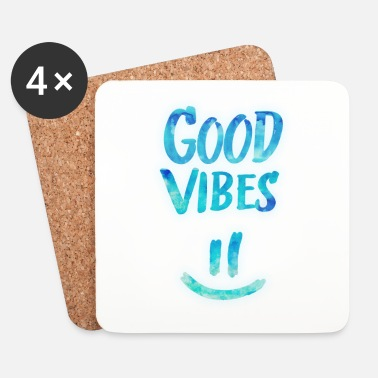 Relajarse Good Vibes - Funny Smiley Statement / Happy Face - Posavasos (juego de 4)
