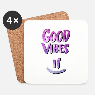 Fan Good Vibes! Funny Smiley Statement / Happy Face - Posavasos (juego de 4)